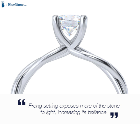 Prong setting helps showcase the diamond in all its brilliance.
