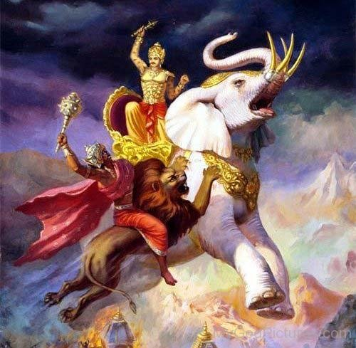 Lord-Indra-Fighting-With-Demon